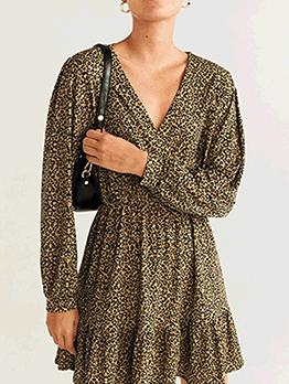 V Neck Leopard Print Long Sleeve Short Dress