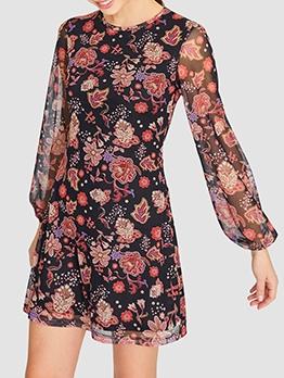 Fashion Crew Neck Gauze Floral Dress