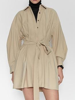 Single-Breasted Tie-Wrap Beige Shirt Dress