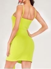 Euro Front Tie-Wrap Slip Bodycon Dress