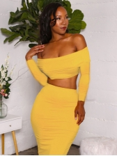 Boat Neck Bright Yellow Crop Top And Long Skirt Set