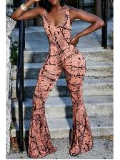 Scoop Neck Printed Sleeveless Wide Leg Jumpsuit