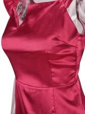 Square Neck Ruffle Sleeveless Solid Bodycon Dress