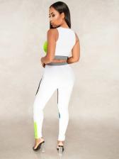 Sport Stitching Color Sleeveless 2 Piece Sets