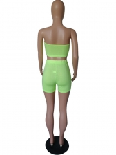 Fluorescent Color Strapless Crop Top And Shorts Set