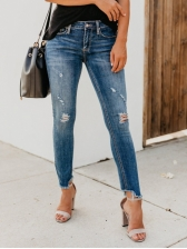 Irregular Ragged Hem Ripped Low Rise Jeans