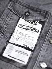 Loose Printed Long Sleeve Men Black Denim Jacket