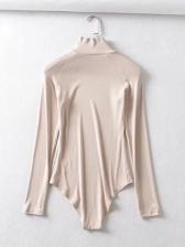 High Neck Solid Long Sleeve Bodysuit