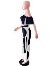 Contrast Color Off Shoulder Crop Top And Pants Set