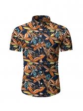 Summer Botanic Printed Short Sleeve Men Shirt