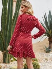 Ruffle Detail Red Polka Dot Dress