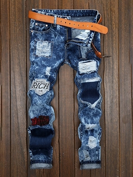 Euro Appliques Patchwork Ripped Jeans For Men