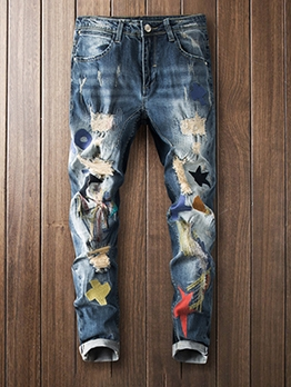 Stylish Embroidery Ripped Appliques Slim Fit Jeans