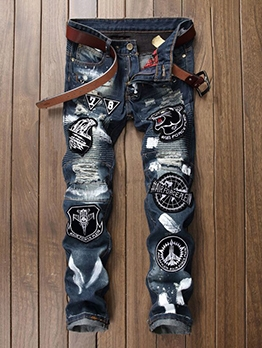 Modern Patchwork Embroidery Distressed Mens Jeans