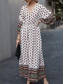 V Neck Print Long Sleeve Maxi Dress