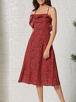 Backless Crisscross Leopard Print Slip Dress
