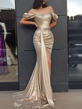 High Split Hem Golden Off The Shoulder Evening Dress