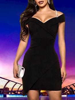 Sexy v Neck Mini Black Dress