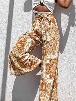 Tie Front Solid Vintage Printed Wide Leg Pants
