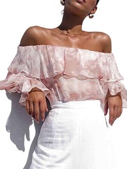 Tie Dye Pink Ruffled Off Shoulder Blouse