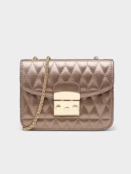 Glossy Pu Rhombus Lattice Over The Shoulder Bags