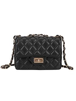Chain Patchwork Belt Rhombus Solid Quilted Shoulder Bag