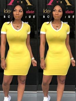 Bright Yellow Turndown Neck Bodycon T Shirt Dress