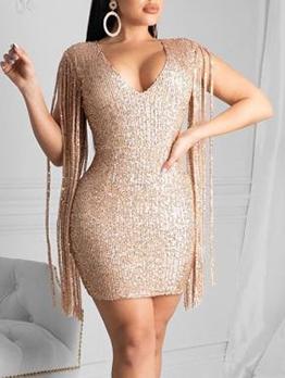 Deep V Neck Tassel Sequin Bodycon Dress