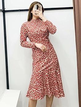Stand Neck Heart Print Long Sleeve Ladies Dress