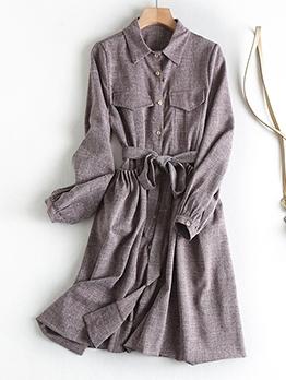 Pockets Tie-Wrap Long Sleeve Shirt Dress