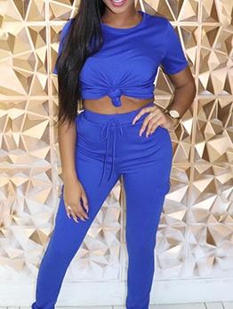 Plain Solid Color 2 Piece Pants Set Women 2020