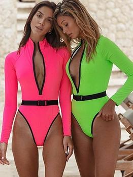 Fluorescent Color Front Zipper One Piece Swimsuit