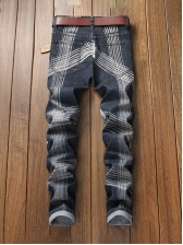 Stylish Striped Ripped Jeans For Men