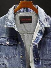 Chic Patchwork Pockets Mens Denim Jacket