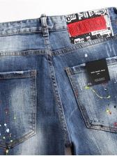 Zip Decor Appliques Men Slim Fit Jeans