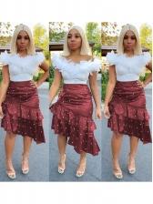 Asymmetric Beads Ruffled Hem Midi Skirt