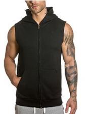 Zipper Up Hooded Collar Simple Mens Vest
