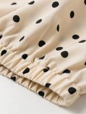 Ruffled Incline Shoulder Polka Dot Blouse