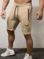Zipper Pocket Cotton Blend Mid Waist Half Pants