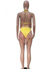 Colorful Tassel Back Lace Up 2 Piece Bikini Set