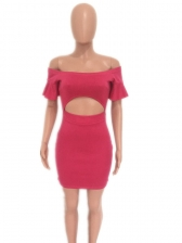 Cut Out Bright Color Off The Shoulder Bodycon Dress
