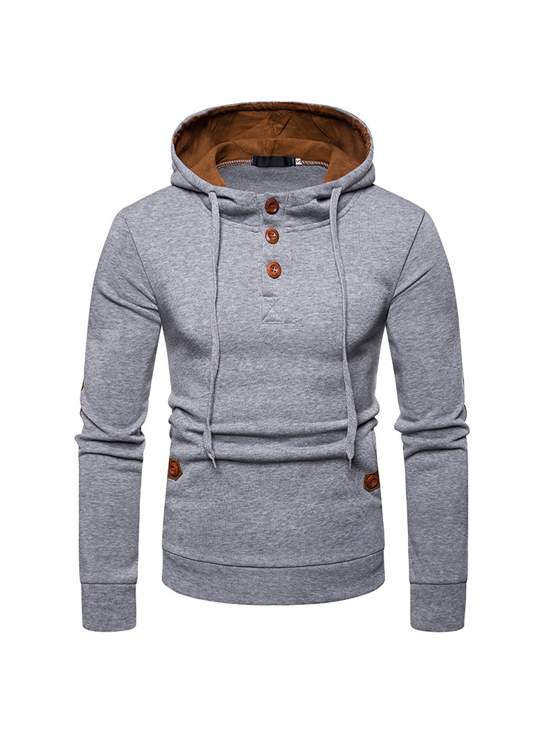 Front Button Solid Long Sleeve Mens Hoodies Sale