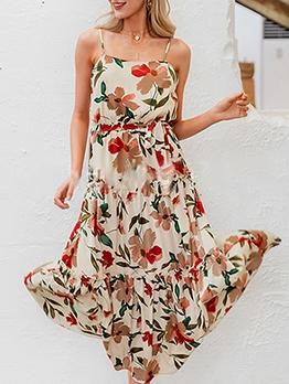 Euro Flower Pattern Slip Chiffon Maxi Dress
