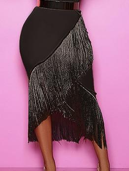 Pure Color Tassel Decor Black Skirt