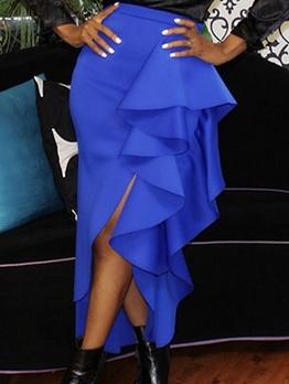Blue Side Ruffled High Waisted Skirt