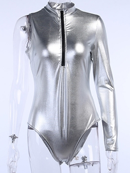 Pure Color Zipper Up One Sleeve Bodysuit