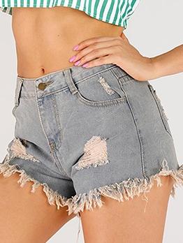 Fashion Tassel Hem Short Ripped Jeans