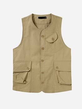 Single-Breasted Pockets Solid Mens Vest
