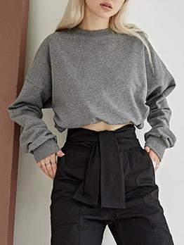 Pure Color Drawstring Plain Crewneck Sweatshirt