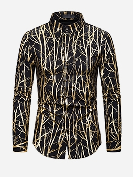 Stylish Foil Printing Men Long Sleeve Shirts